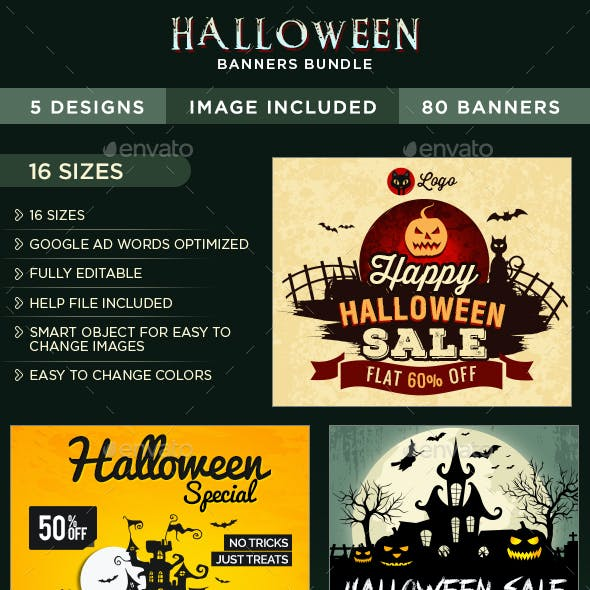 Halloween Banners Bundle - 5 Sets