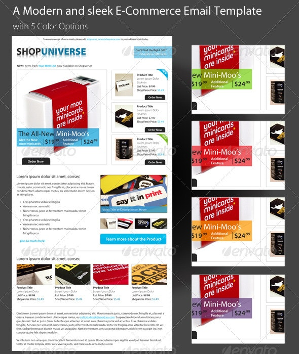A Modern and sleek E-Commerce Email Template PSD - E-newsletters Web Elements
