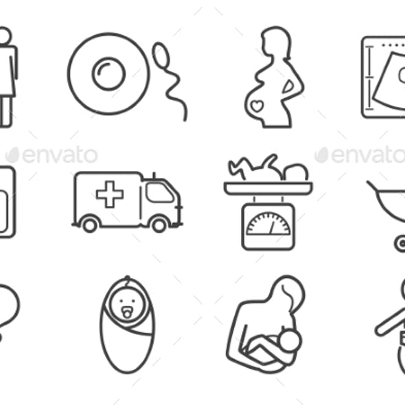 Medicine And Pregnancy Vector Line Icons Set