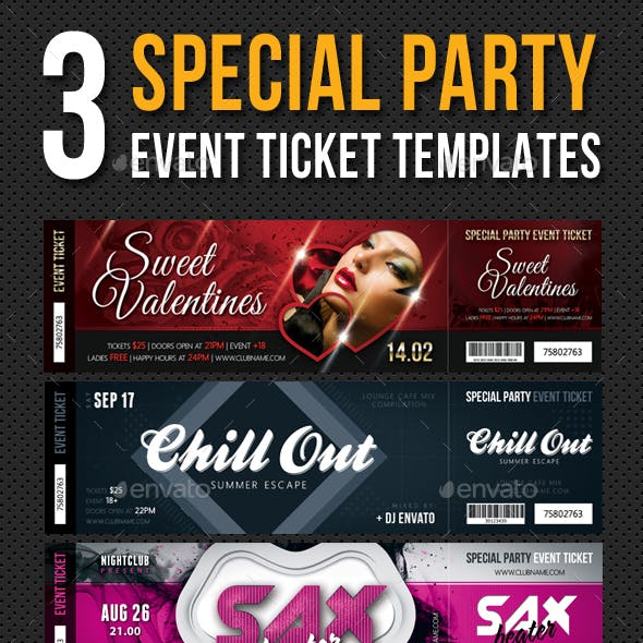 3 in 1 Special Party Event Ticket Bundle V03