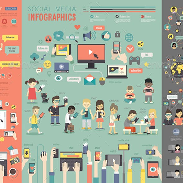 Social Media Infographic set.