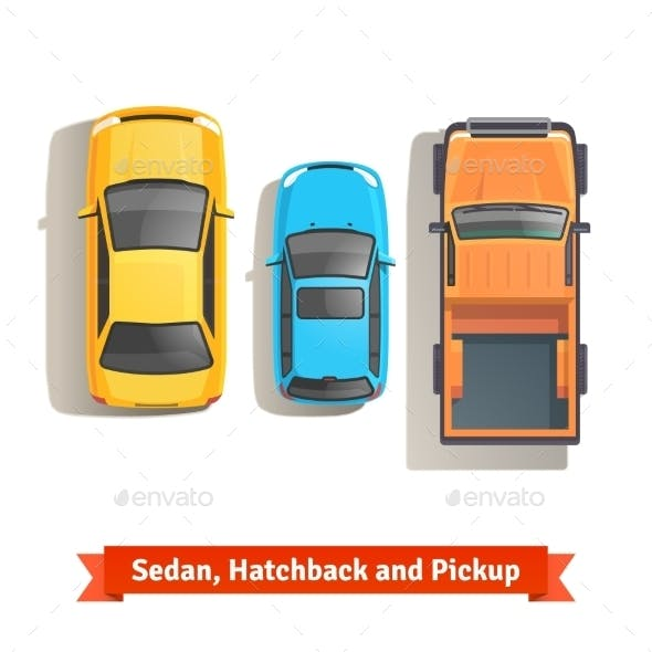 Cars and Pickup Truck Top View