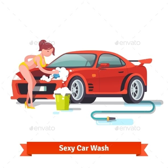 Woman In Swimsuit Washing Red Sports Car