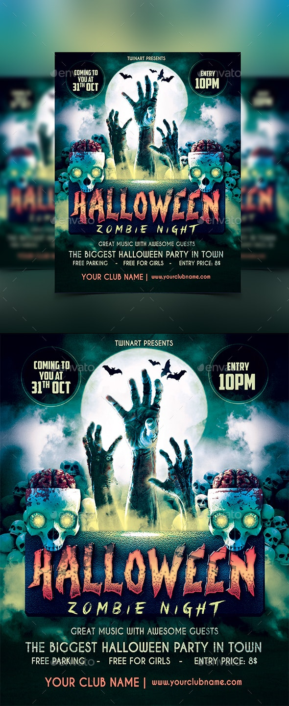Halloween Party Zombie Flyer - Flyers Print Templates