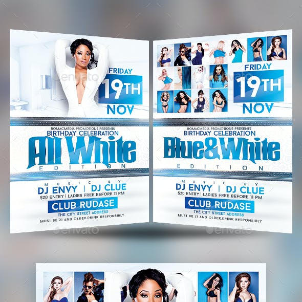 Blue and White Anniversary Birthday Party