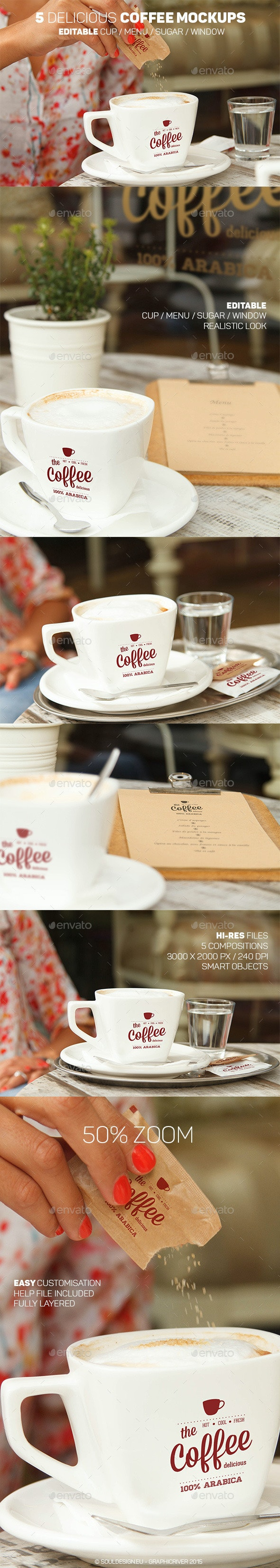 5 Delicious Coffee Mockups - Logo Product Mock-Ups