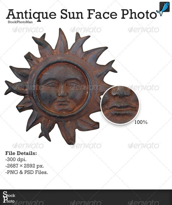 Antique Sun Face Photo - Miscellaneous Isolated Objects