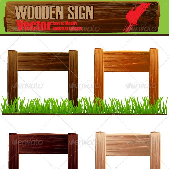 Vector Wooden Sign Board Set