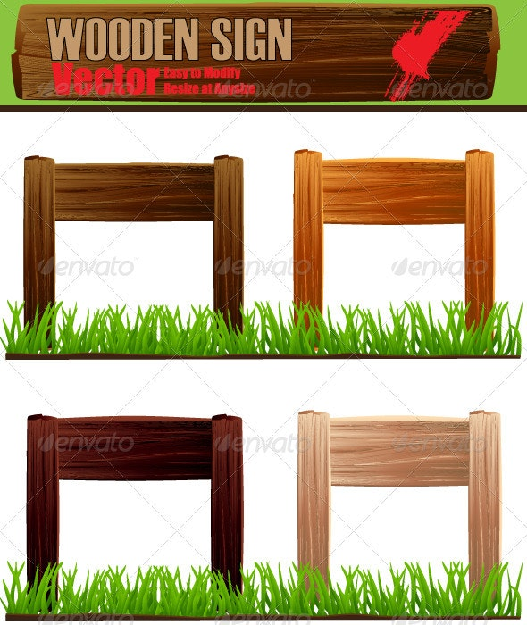 Vector Wooden Sign Board Set - Man-made Objects Objects