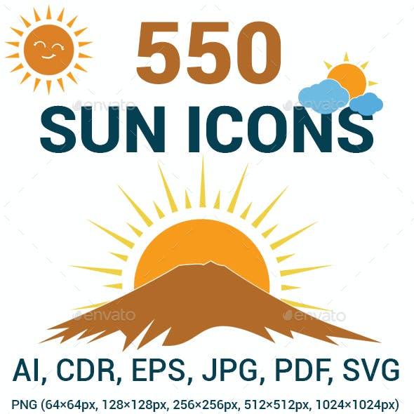 550 Sun Icons Set