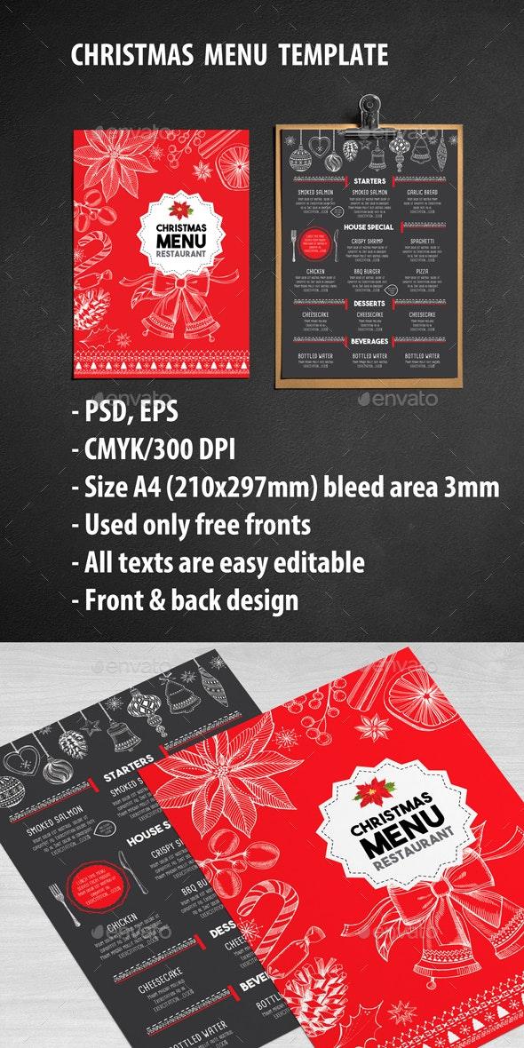 Christmas Restaurant Template - Food Menus Print Templates