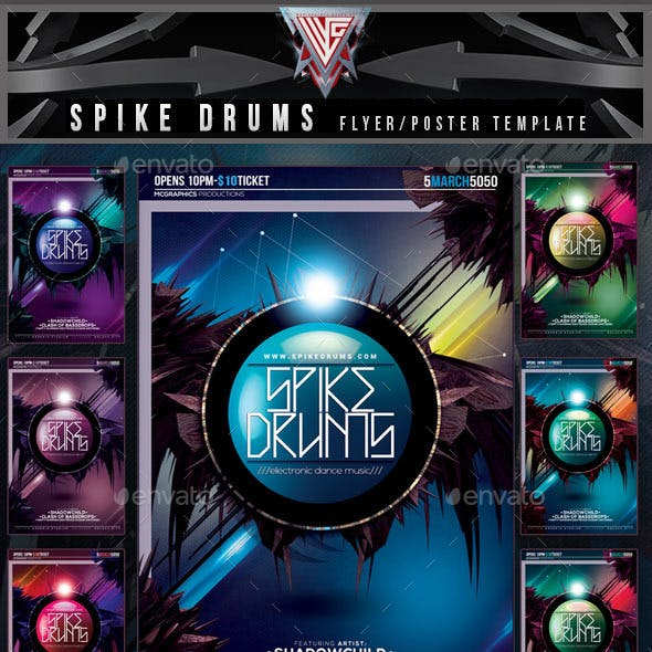 Spike Drums Flyer Template