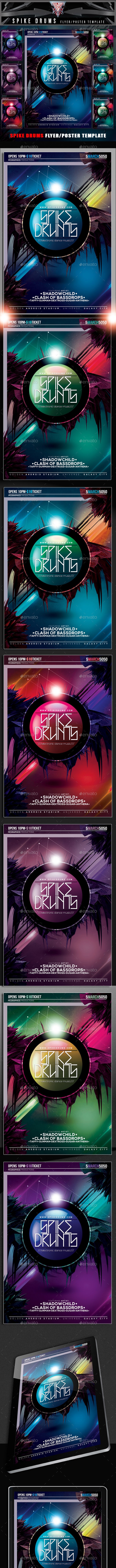 Spike Drums Flyer Template - Clubs & Parties Events