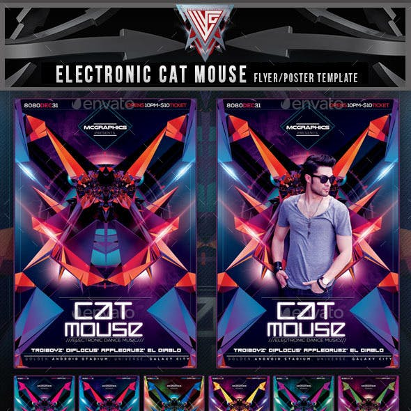 Electronic Cat Mouse Concept Flyer Template