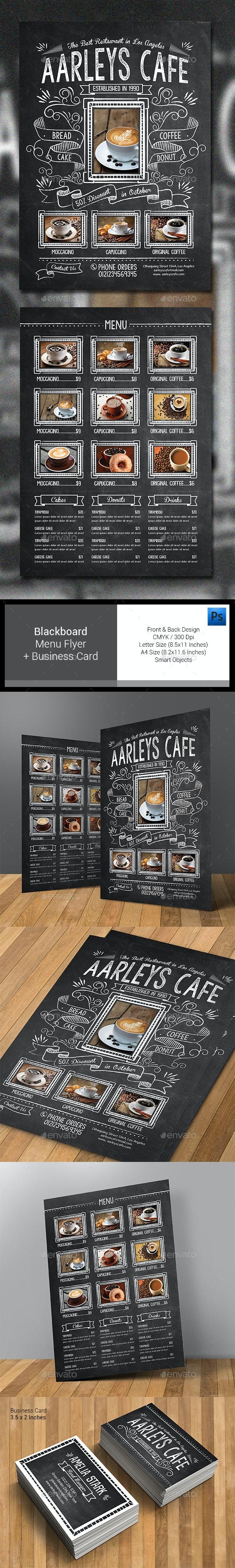 Blackboard Food Menu Flyer - Food Menus Print Templates