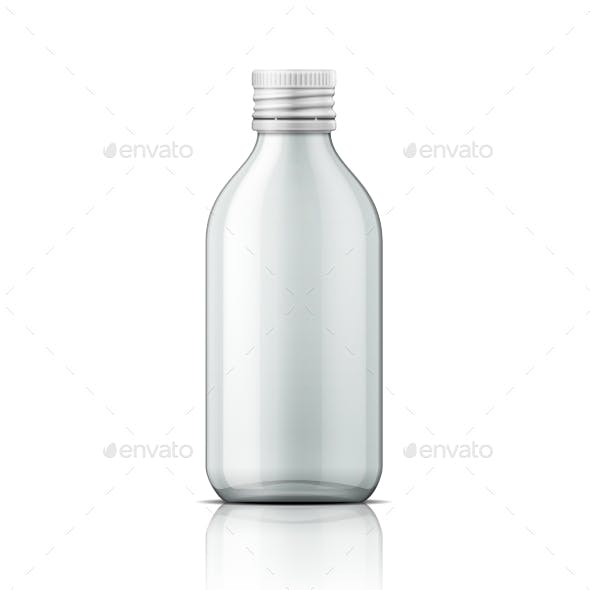 Glass Medical Bottle With Screw Cap.