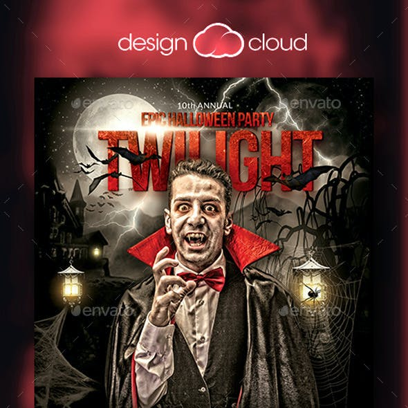 The Epic Twilight Halloween Party Flyer Template
