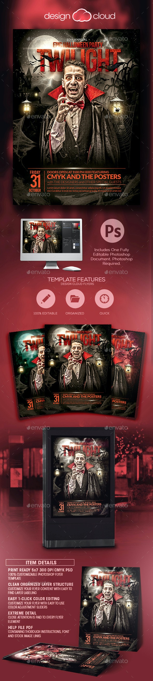 The Epic Twilight Halloween Party Flyer Template - Holidays Events