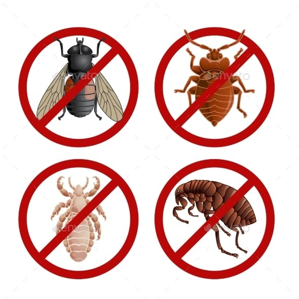 Set Of Disable Signs With Pest Insects