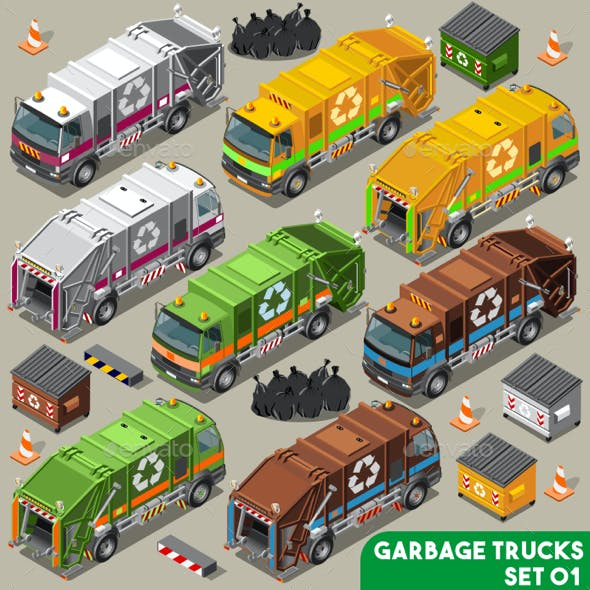 Garbage Truck Vehicle Isometric