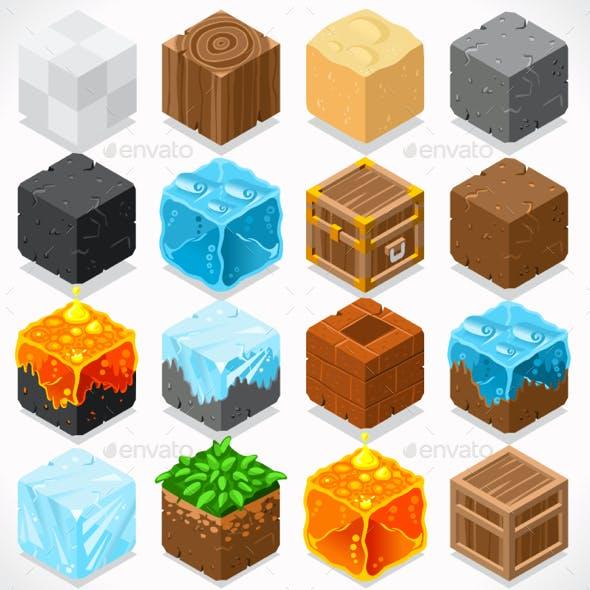Mine Cubes Elements Isometric