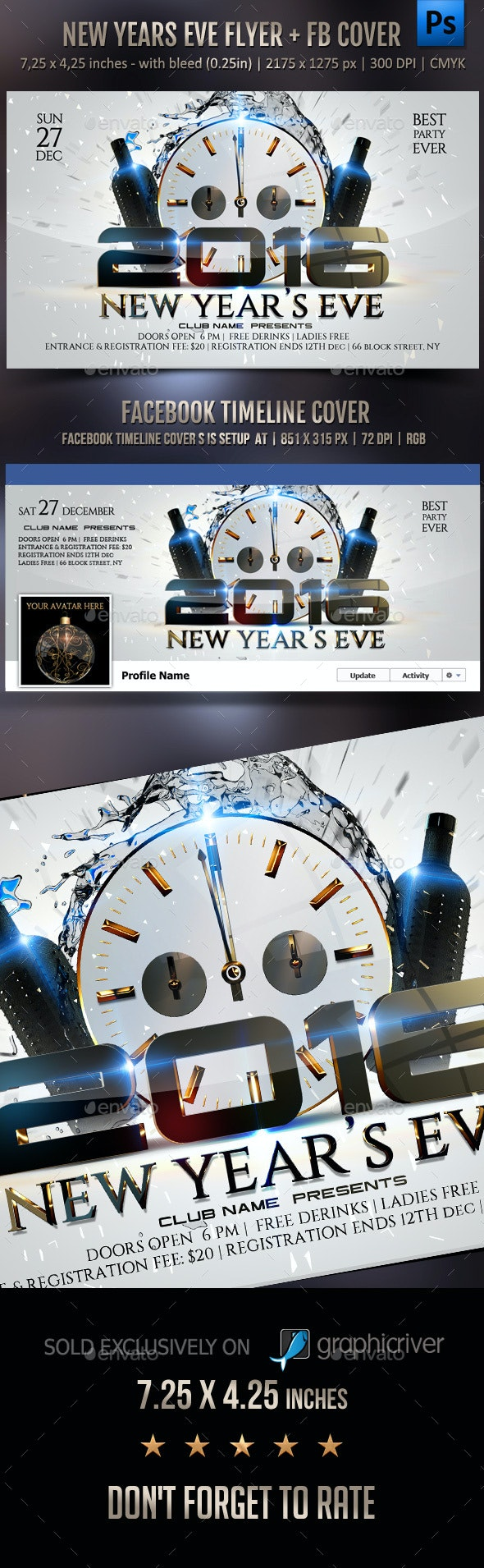 New Years Eve Flyer + FB Cover - Events Flyers