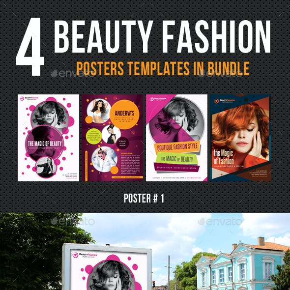 4 in 1 Beauty and Fashion Poster Bundle