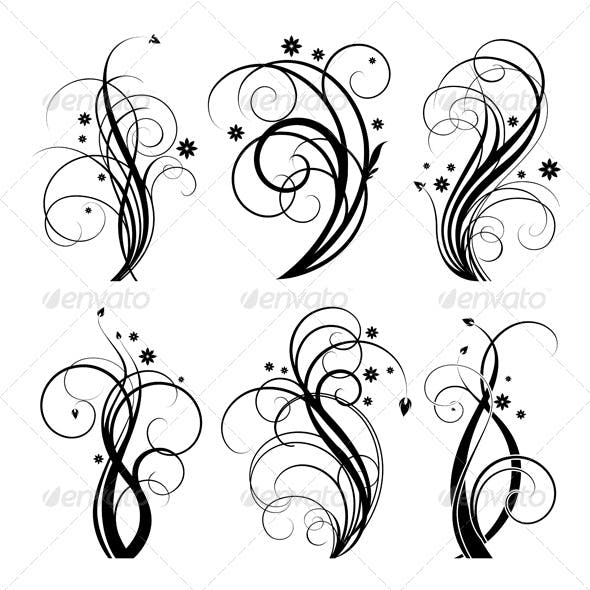Vector Floral Designs (6 swirls)