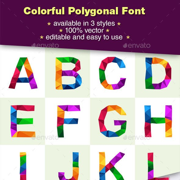 Colorful Polygonal Font And Number