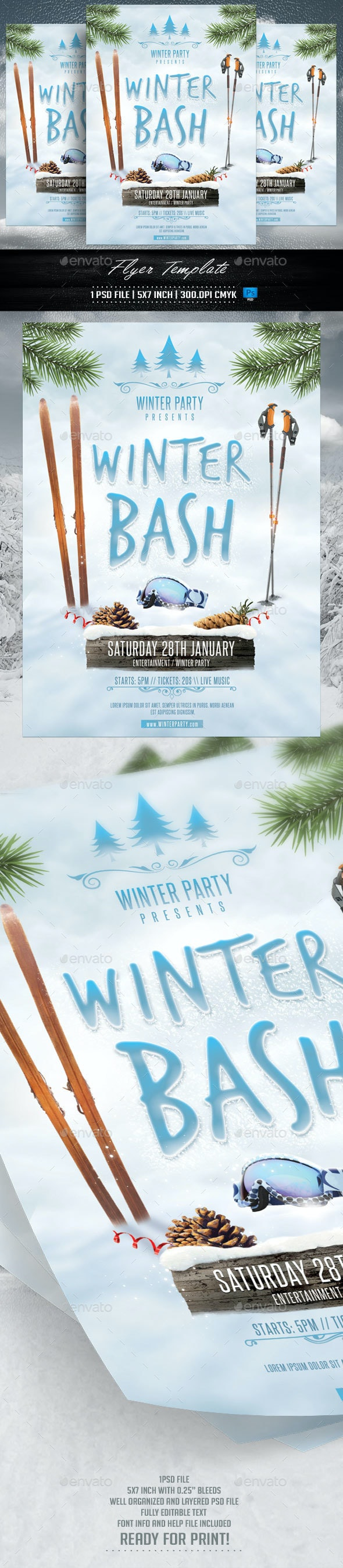 Winter Bash Flyer Template - Flyers Print Templates