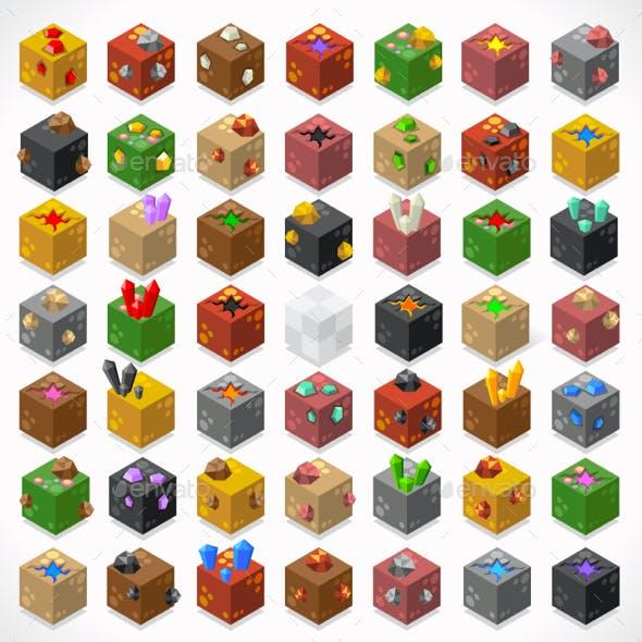Mine Cube Elements Isometric