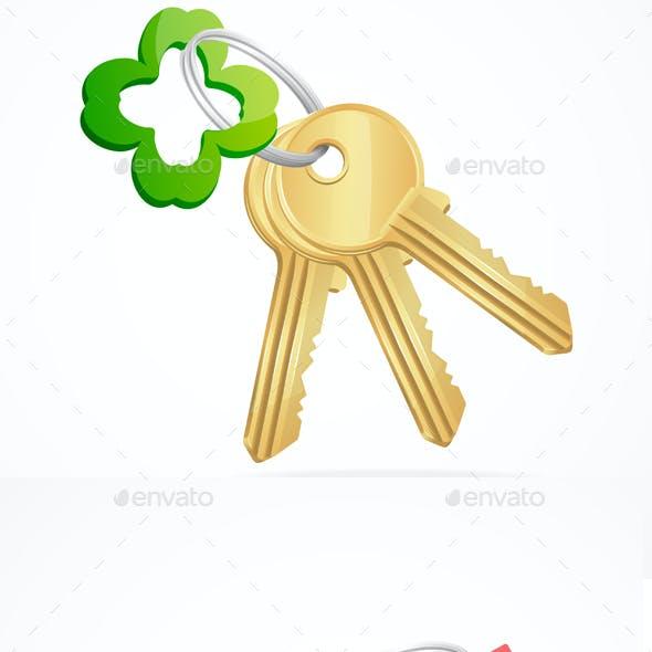 Keys and Key Chain Set. Vector