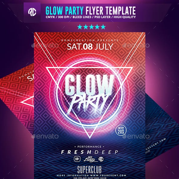 Glow Party | Psd Flyer Template