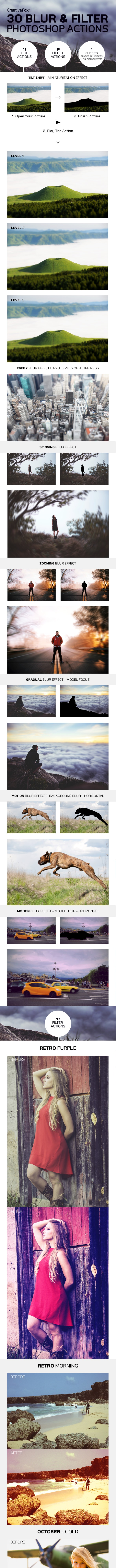 30 Blur & Filter Photoshop Actions - Photo Effects Actions