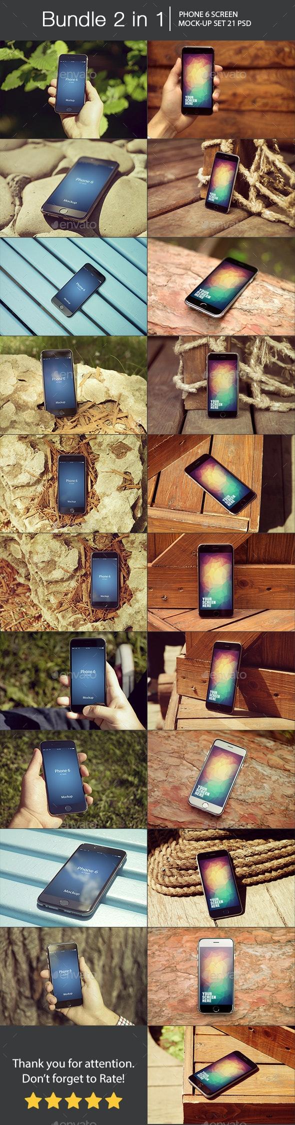 iPhone 6 Mockup Bundle 2 in 1 - Mobile Displays