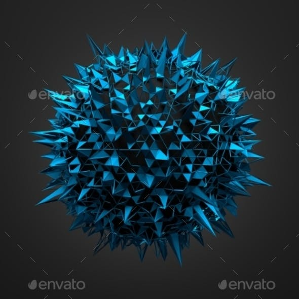 Abstract 3D Rendering Of Blue Chaotic Surface