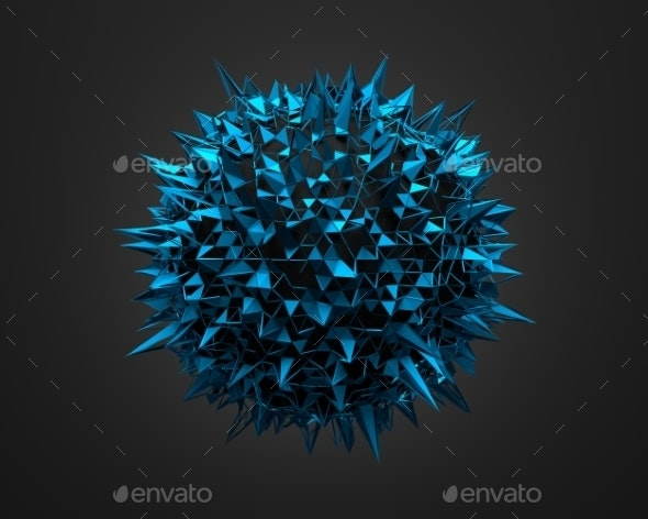 Abstract 3D Rendering Of Blue Chaotic Surface - 3D Backgrounds