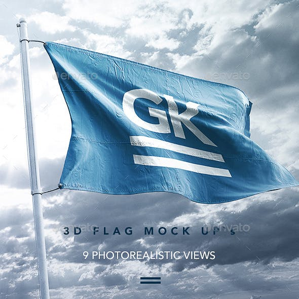 9 Realistic 3D Flag Mock Up`s