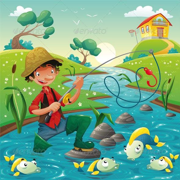 Cartoon scene with fisherman
