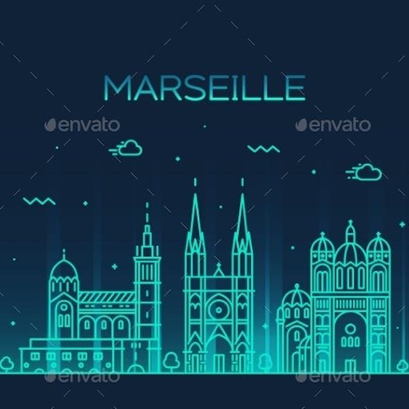 Marseille Skyline Silhouette Linear Style Vector