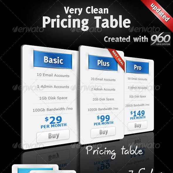 Very Clean Pricing Table with Widgets and 7 Colors