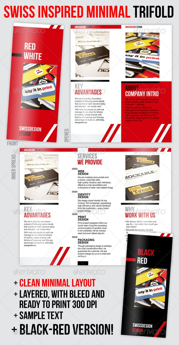 Swiss Minimal Style Professional Trifold Brochure - Corporate Brochures