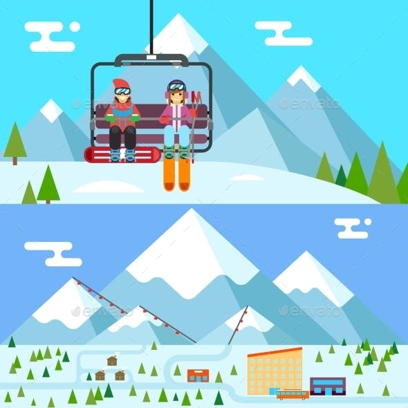Ski Resort Holidays Skier And Snowboarder Go Up
