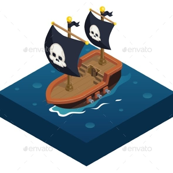 Isometric Pirate Ship 3d Icon Symbol Sea