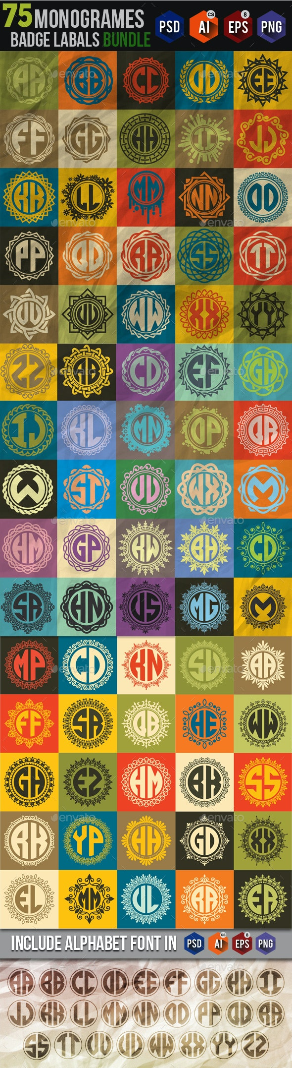 75 Monogrames Badge Labals With Alphabet Bundel - Badges & Stickers Web Elements