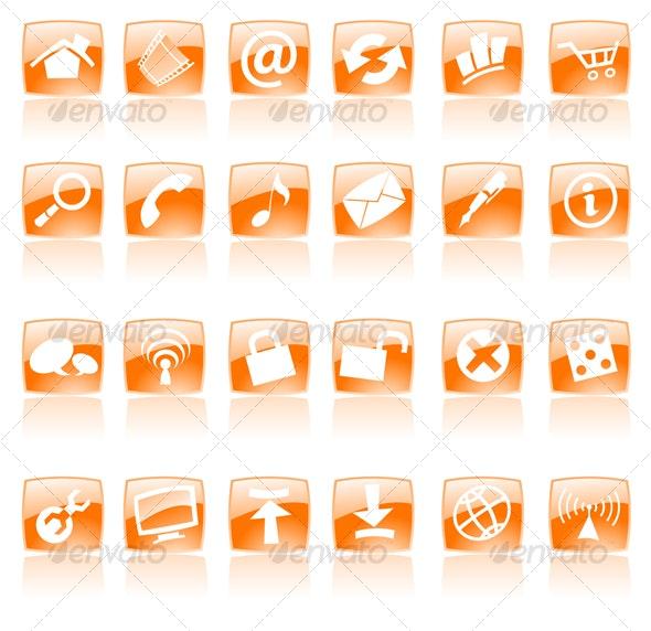Orange glossy web icons - Web Icons