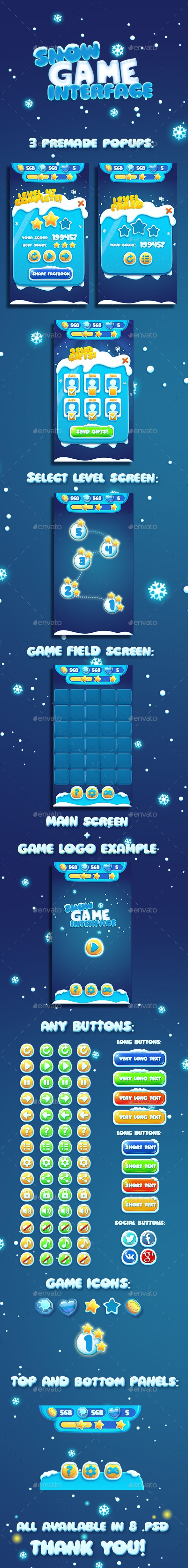 Christmas Snow Cartoon GUI - User Interfaces Game Assets