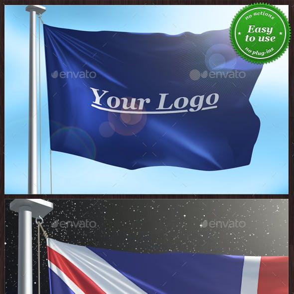 Flag with Logo or Country Mock-up