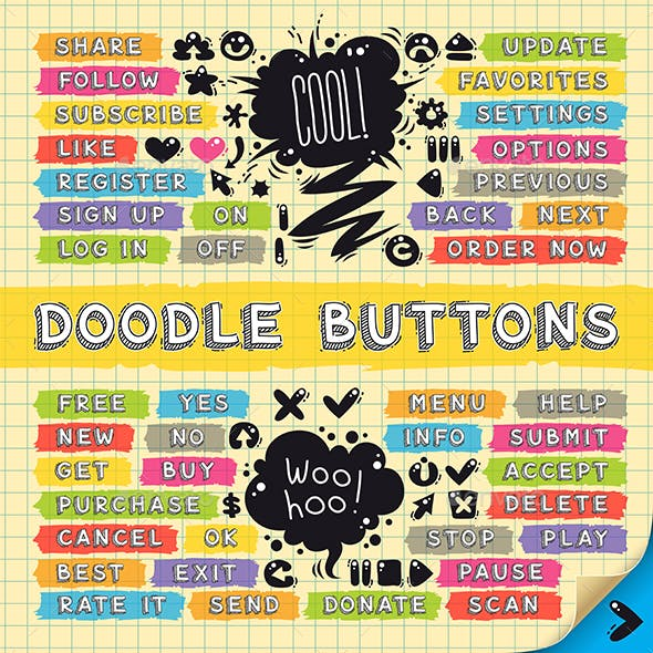 Hand Drawn Sketchy Doodle Buttons Set