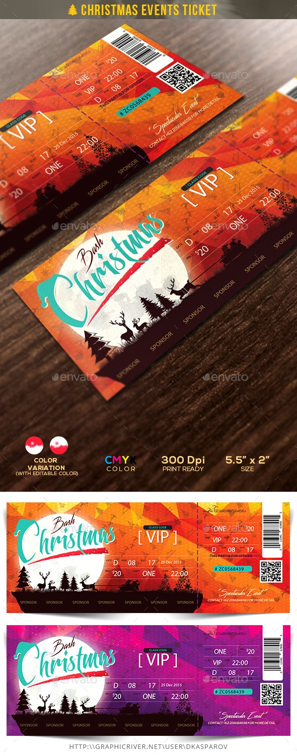 Christmas Events Ticket - Miscellaneous Print Templates